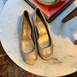 Cole Haan champagne peep toe wedges